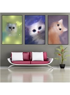 Little Cats Pattern 3 Pieces Hanging Canvas Waterproof Eco-friendly Framed Wall Prints
