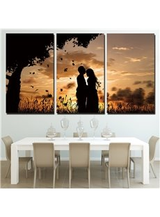 Lover Pattern 3 Pieces Hanging Canvas Waterproof Eco-friendly Framed Wall Prints
