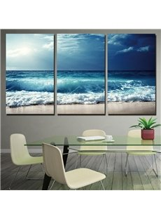 Sea View Pattern 3 Pieces Hanging Canvas Waterproof Eco-friendly Framed Wall Prints