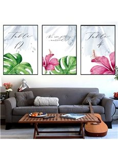 3 Pieces Flower Pattern Hanging Canvas Waterproof Eco-friendly Framed Wall Prints