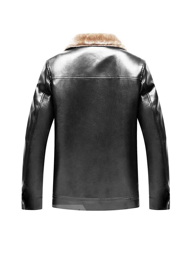 Casual Style Lapel Plain PU Straight Model Zipper Jacket