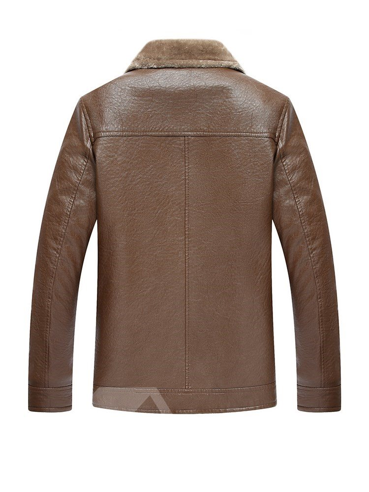 PU Lapel Business Style Button Pocket Single-Breasted Jacket
