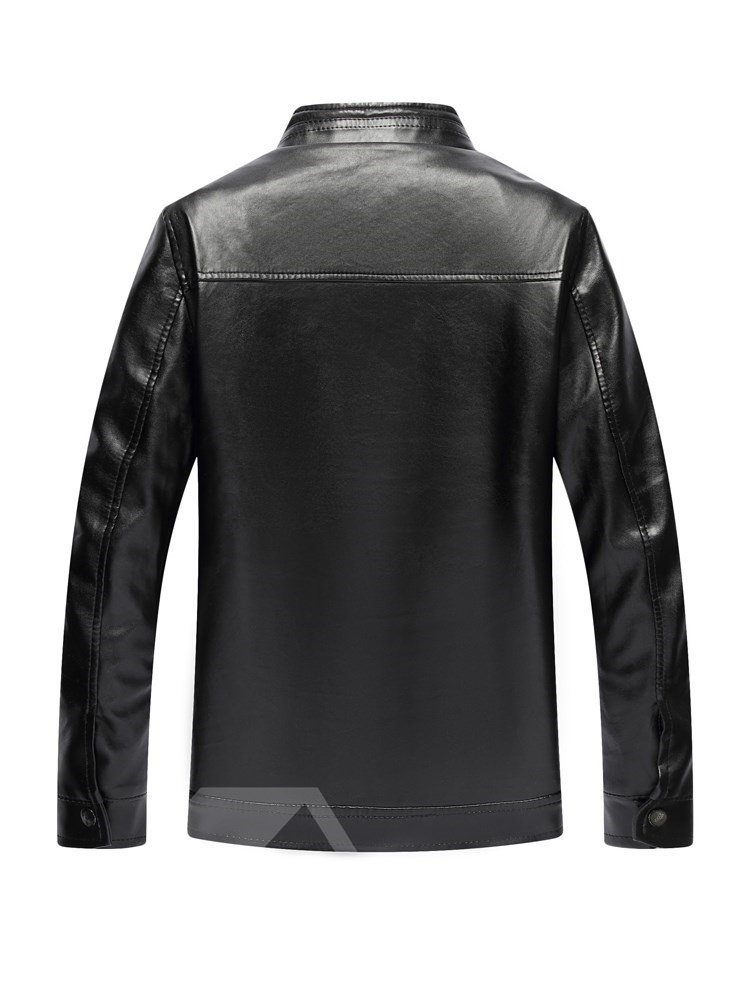 Casual Style Lapel Slim Model Pocket Zipper Plain Jacket