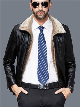 Lapel Plain Slim Model Pocket Zipper PU Mid-Length Jacket