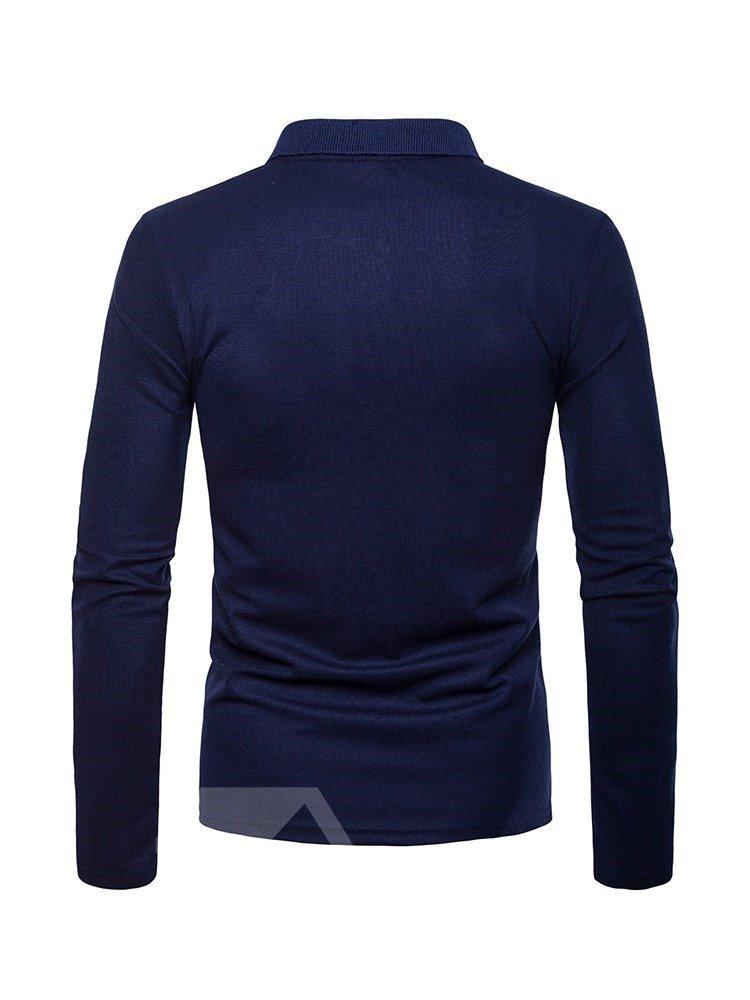 Color Block Casual Style Button Print Cotton Slim Model T-Shirt