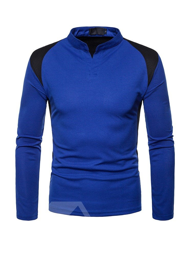 Color Block Casual Style Slim Model Stand Collar T-Shirt
