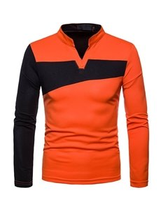 Casual Style Irregular Long Sleeve Polo Neck Button Men's Polo