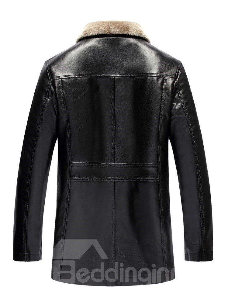 Lapel PU Straight Model Formal Style Plain Mid-Length Jacket
