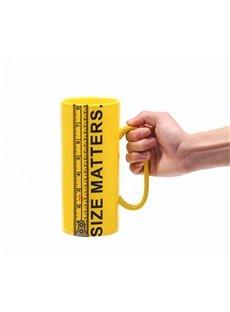 Creative Size Matters Ceramic Ruler Tall Yellow Coffee Mug