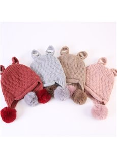 Domed Knitted Brimless Earflap with Pompons Warm Baby Hat
