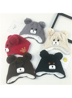 Cute Bear Domed Knitted Brimless Winter Baby Hat