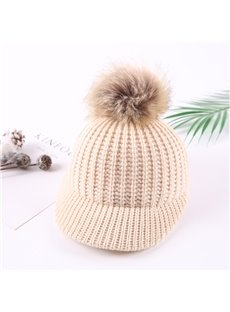 Domed Knitted Winter Hat with Pompon Short Brim Baby Hat