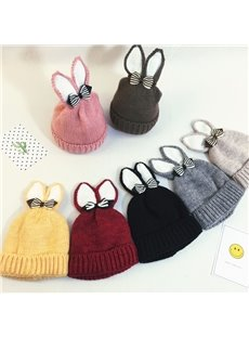 Sweet Knitted Brimless Bunny-ear Bow Hemming Woolen Yarn Materials Baby Hat