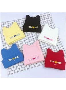 Cute Domed Knitted Brimless Cat-ear Hemming Woolen Yarn Materials Baby Hat