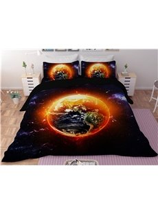 Shinning Earth Galaxy Printing Polyester 3D 3-Piece Bedding Sets/Duvet Covers