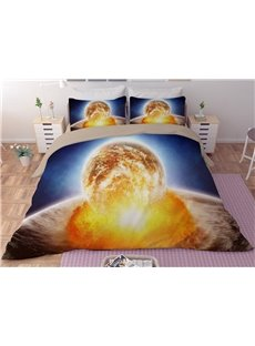Celestial Body and Fire Galaxy Printing Polyester 3D 3-Piece Bedding Sets/Duvet Covers