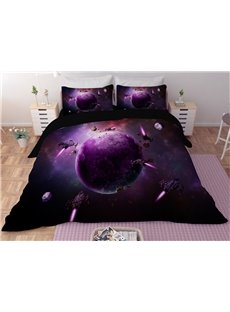 Purple Planet Galaxy Printing Polyester 3D 3-Piece Bedding Sets/Duvet Covers