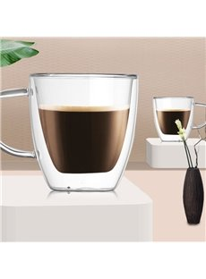 Double Wall Glass Unique & Insulated with Handle Coffee Mug