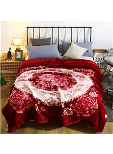 Blooming Flower and Geometric Printing Flannel Fleece Bed Blanket