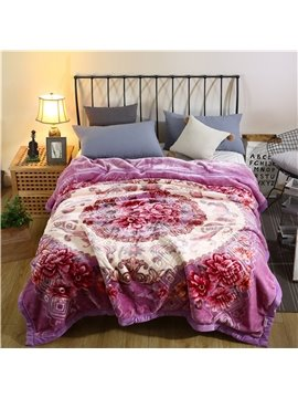 Flower Blooming Printing Elegant Purple Flannel Fleece Bed Blanket