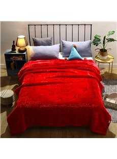 Warm Red Floral Pattern Flannel Fleece Bed Blanket