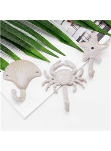 Amazing Simple Style Starfish and Seashell Shape Wall Hooks