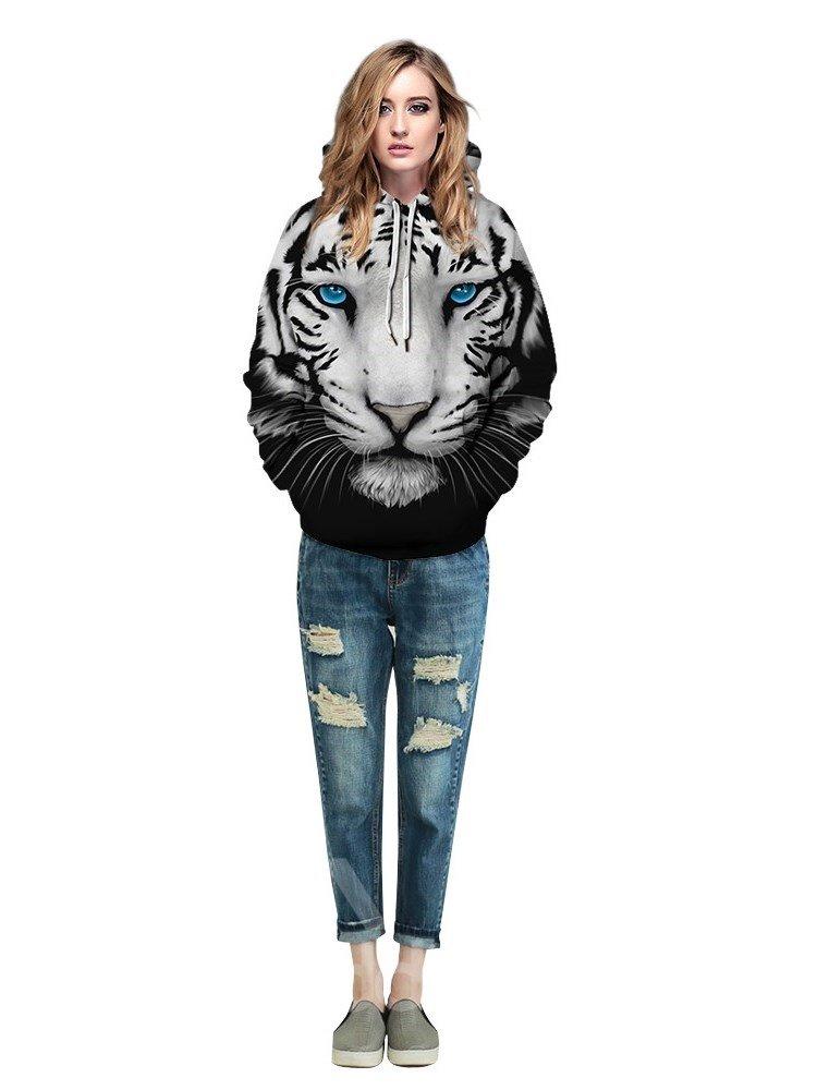 Cool Tiger Loose Model Pullover Kangaroo Pocket 3D Painted Hoodie