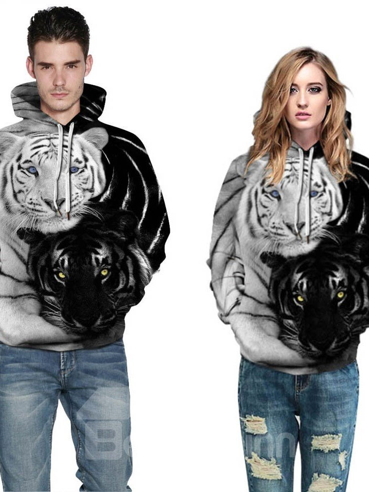 Couple Tigers Pullover Kangaroo Pocket Lightweight 3D Painted Hoodie