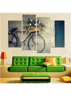 Bike Pattern 4 Pieces Hanging Canvas Waterproof Eco-friendly Framed Wall Prints