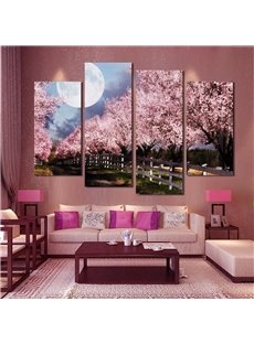 Sakura Pattern 4 Pieces Hanging Canvas Waterproof Eco-friendly Framed Wall Prints