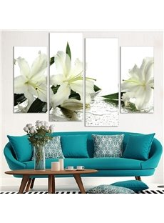 Lily Pattern 4 Pieces Hanging Canvas Waterproof Eco-friendly Framed Wall Prints