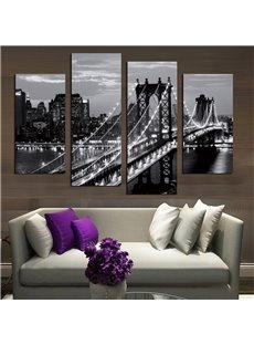 Bridge Pattern 4 Pieces Hanging Canvas Waterproof Eco-friendly Framed Wall Prints