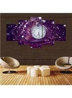 Purple Clock Pattern 5 Pieces Hanging Canvas Waterproof Eco-friendly Framed Wall Prints
