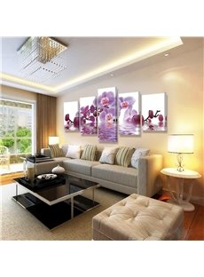 Orchid Pattern 5 Pieces Hanging Canvas Waterproof Eco-friendly Framed Wall Prints