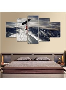 Surfing Pattern 5 Pieces Hanging Canvas Waterproof Eco-friendly Framed Wall Prints