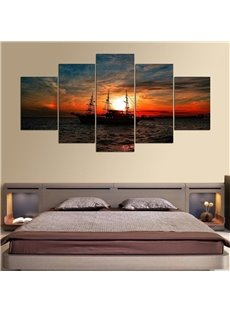 5 Pieces Ship Pattern Hanging Canvas Waterproof Eco-friendly Framed Wall Prints