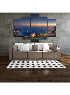5 Pieces Night Scene Pattern Hanging Canvas Waterproof Eco-friendly Framed Wall Prints