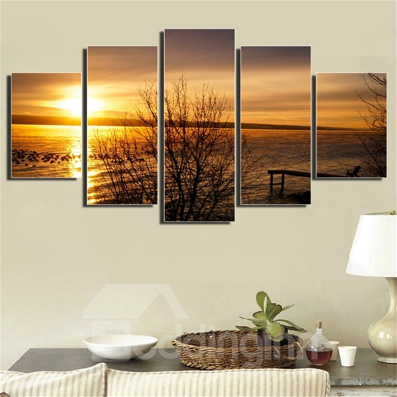 5 Pieces Twilight Pattern Hanging Canvas Waterproof Eco-friendly Framed Wall Prints