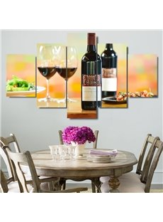 5 Pieces Red Wine Pattern Hanging Canvas Waterproof Eco-friendly Framed Wall Prints