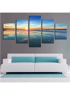 Sea Scene Pattern 5 Pieces Hanging Canvas Waterproof Eco-friendly Framed Wall Prints