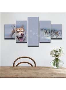Cute Dog Pattern 5 Pieces Hanging Canvas Waterproof Eco-friendly Framed Wall Prints