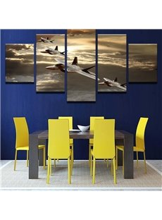 Aircraft Pattern 5 Pieces Hanging Canvas Waterproof Eco-friendly Framed Wall Prints