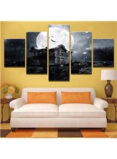 Moon And House Pattern 5 Pieces Hanging Canvas Waterproof Eco-friendly Framed Wall Prints