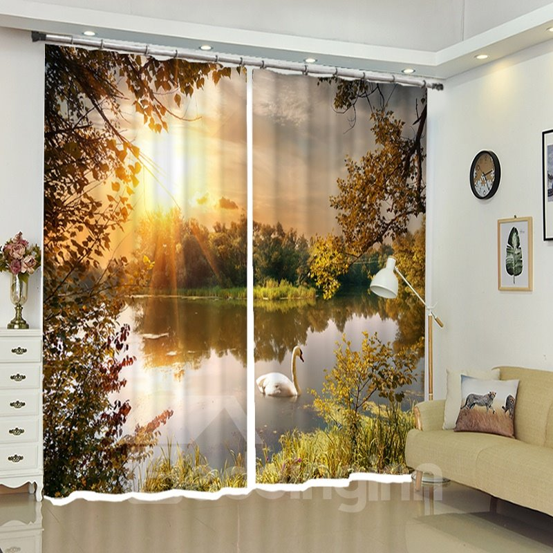 Swan Lake Sunset 3d Polyester Window Curtains Pic