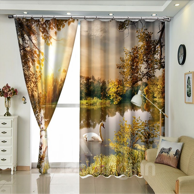 Swan In The Lake Sunset 3D Polyester Window Curtains
