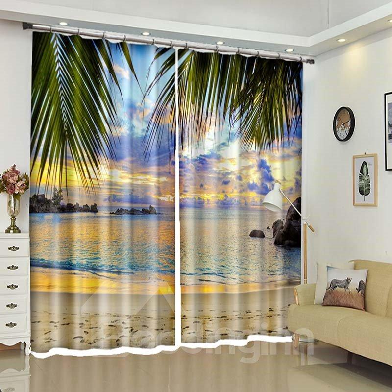 Sunset Beach Beautiful Glow 3D Window Curtains Drapes