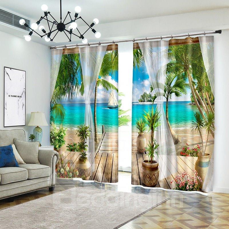 Tropical Beach 3d Curtains Drapes Beach With Palm Trees