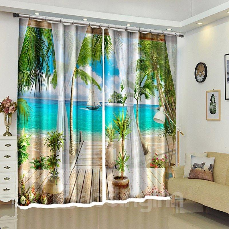 Tropical Beach 3D Curtains Drapes,Beach with Palm Trees