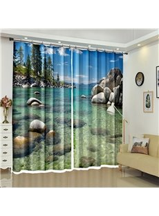 3D Crystal Sea Printed Natural Style Custom Curtain for Living Room Wash Room