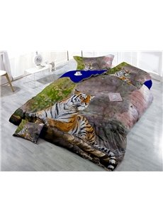 Lying Tiger Digital Printing 3D 4-Piece Bedding Sets/Duvet Covers